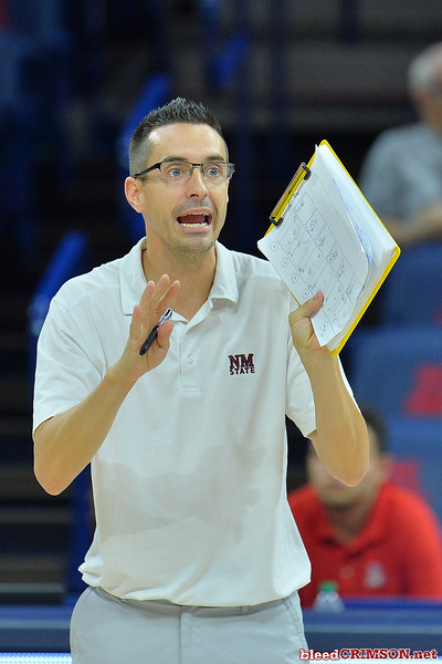 September 18, 2015: New Mexico State assistant coach Ben Wallis calls out instructions to the team in a match between New Mexico State and No. 16 Arizona at McKale Memorial Center in Tucson, Ariz.