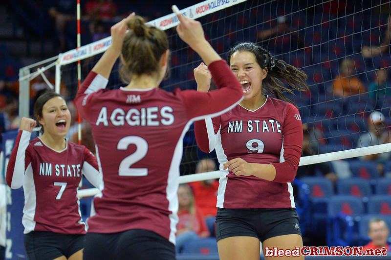 September 19, 2015: Bradley Nash celebrates a point in a match between New Mexico State and No. 2 Texas at McKale Memorial Center in Tucson, Ariz.