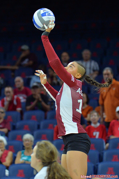 September 19, 2015: Nathalie Castellanos tips a ball in a match between New Mexico State and No. 2 Texas at McKale Memorial Center in Tucson, Ariz.