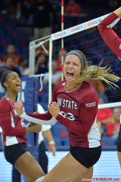 September 19, 2015: Gwen Murphy celebrates a point in a match between New Mexico State and No. 2 Texas at McKale Memorial Center in Tucson, Ariz.