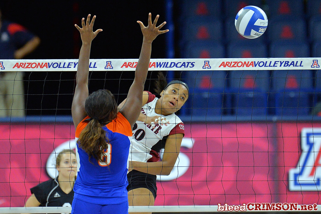 September 18, 2015: Sasha-Lee Thomas hits around a Savannah State block in a match between New Mexico State and Savannah State at McKale Memorial Center in Tucson, Ariz.