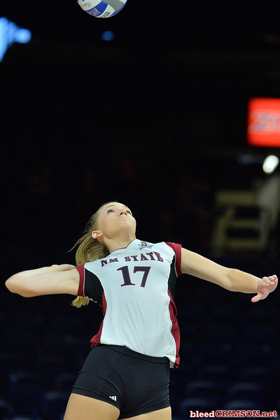 September 18, 2015: Natalie Fazio serves a ball in a match between New Mexico State and Savannah State at McKale Memorial Center in Tucson, Ariz.