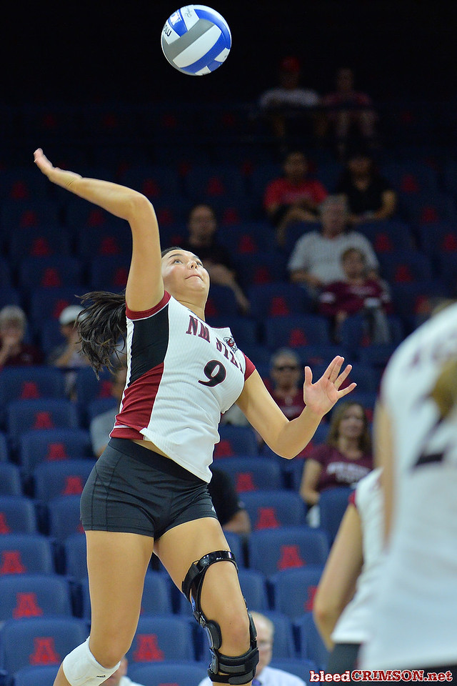 September 18, 2015: Bradley Nash takes a swing in a match between New Mexico State and Savannah State at McKale Memorial Center in Tucson, Ariz.