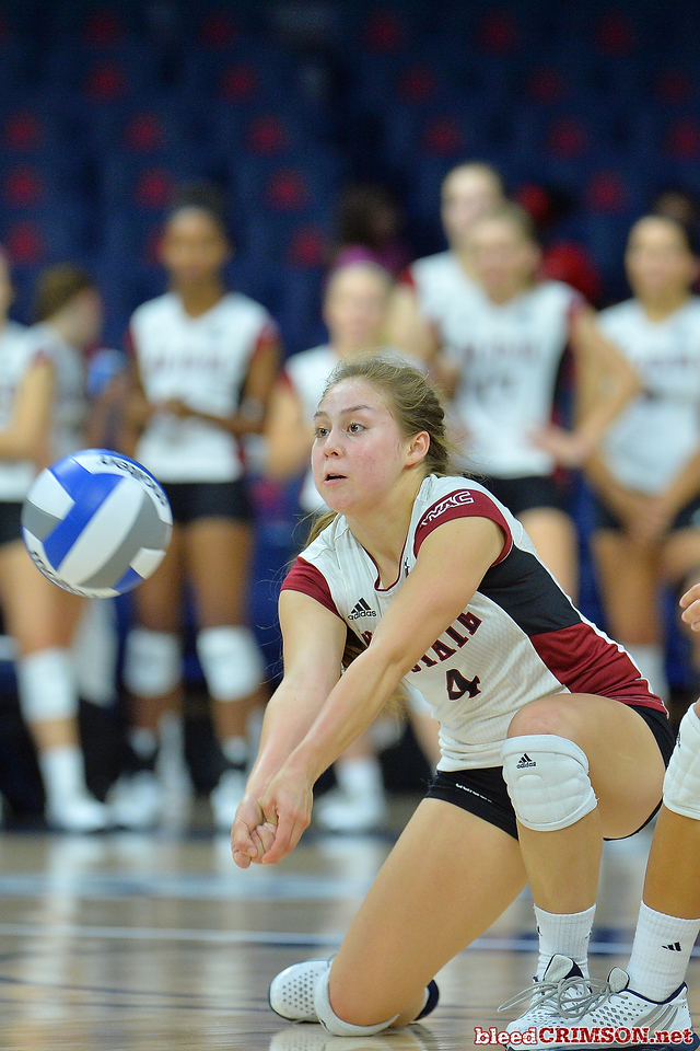 September 18, 2015: Ariadnne Sierra digs a ball in a match between New Mexico State and Savannah State at McKale Memorial Center in Tucson, Ariz.