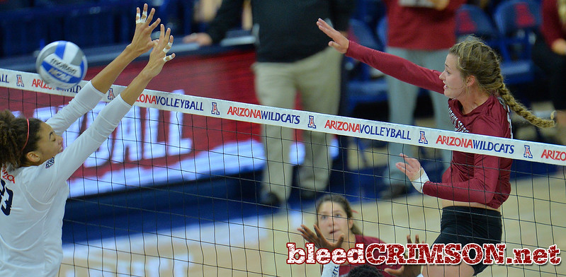 TUCSON, AZ - SEPTEMBER 15:  Lia Mosher #21 of the New Mexico State Aggies hits the ball past the block attempt of Jade Turner #33 of the Arizona Wildcats in a match between the New Mexico State Aggies and the Arizona Wildcats at the McKale Center in Tucson, Arizona. The Wildcats won 3-2.  (Photo by Sam Wasson)