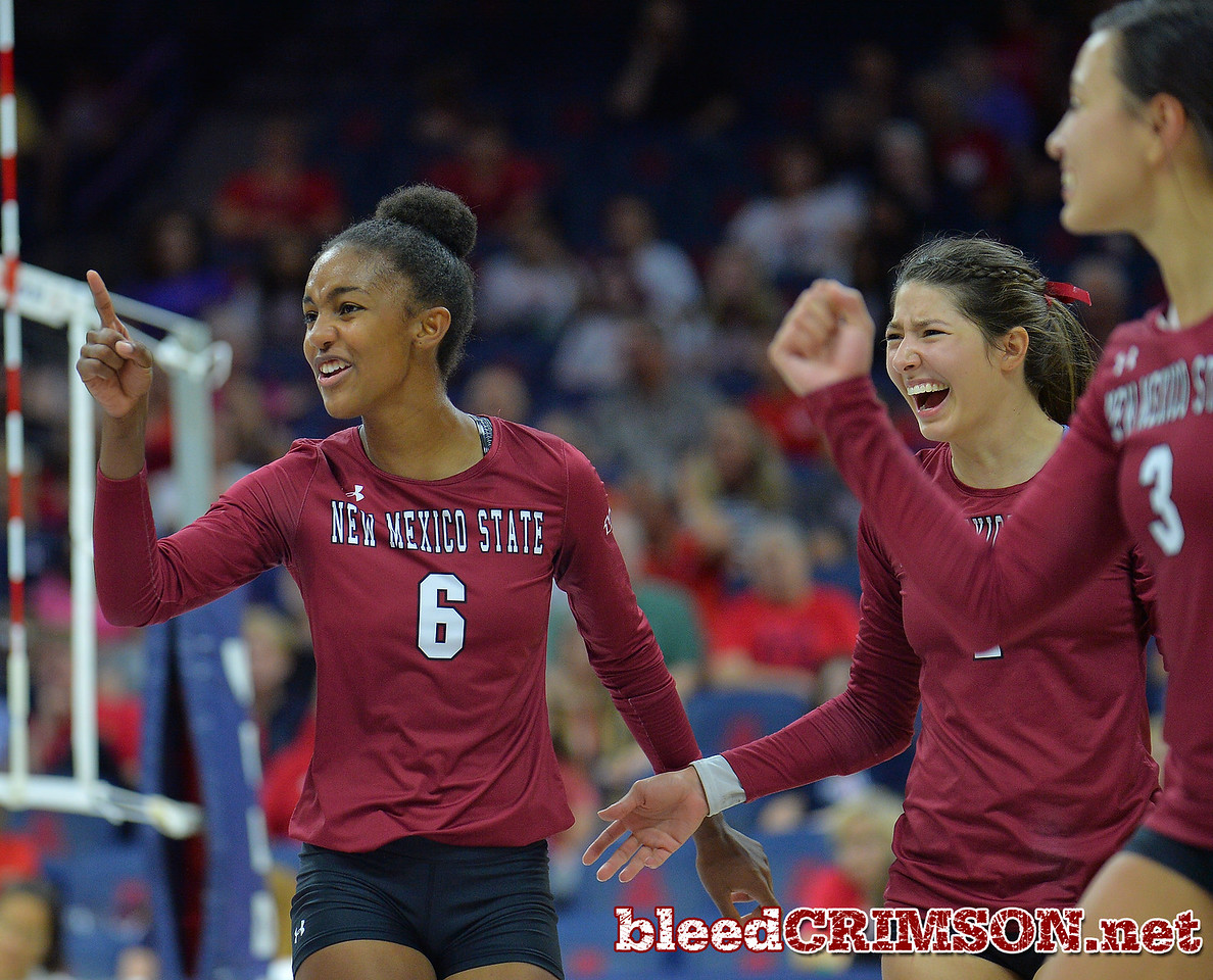 TUCSON, AZ - SEPTEMBER 15:  Tatyana Battle #6 of the New Mexico State Aggies celebrates after her team wins a point in a match between the New Mexico State Aggies and the Arizona Wildcats at the McKale Center in Tucson, Arizona. The Wildcats won 3-2.  (Photo by Sam Wasson)