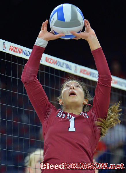 TUCSON, AZ - SEPTEMBER 15:  Briana Ainsworth #1 of the New Mexico State Aggies sets a ball in a match between the New Mexico State Aggies and the Arizona Wildcats at the McKale Center in Tucson, Arizona. The Wildcats won 3-2.  (Photo by Sam Wasson)