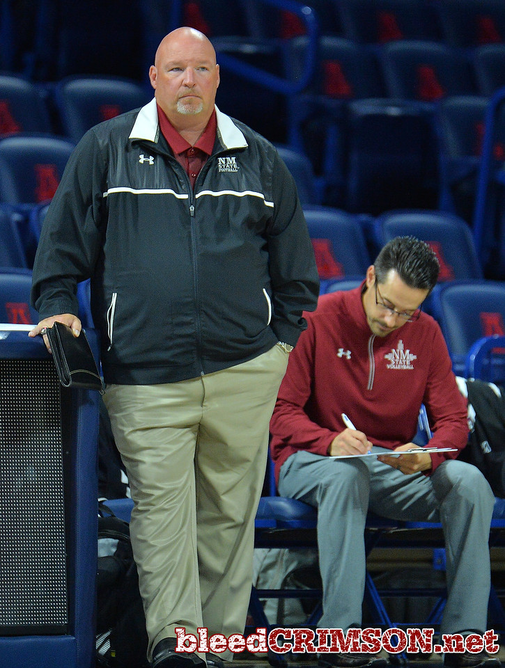 TUCSON, AZ - SEPTEMBER 16:  Head coach Mike Jordan of the New Mexico State Aggies looks on in a match between the New Mexico State Aggies and the Illinois State Redbirds at the McKale Center in Tucson, Arizona. The Redbirds won 3-0.  (Photo by Sam Wasson)