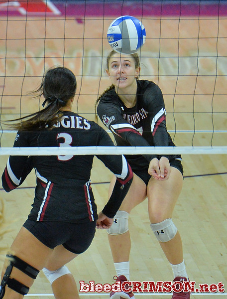 TUCSON, AZ - SEPTEMBER 16:  Kiley Tonge #7 of the New Mexico State Aggies digs a ball in a match between the New Mexico State Aggies and the Illinois State Redbirds at the McKale Center in Tucson, Arizona. The Redbirds won 3-0.  (Photo by Sam Wasson)