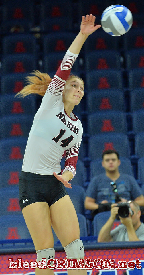 TUCSON, AZ - SEPTEMBER 16:  Kassandra Tohm #14 of the New Mexico State Aggies takes a swing in a match between the New Mexico State Aggies and the William & Mary Tribe at the McKale Center in Tucson, Arizona. The Aggies won 3-0.  (Photo by Sam Wasson)