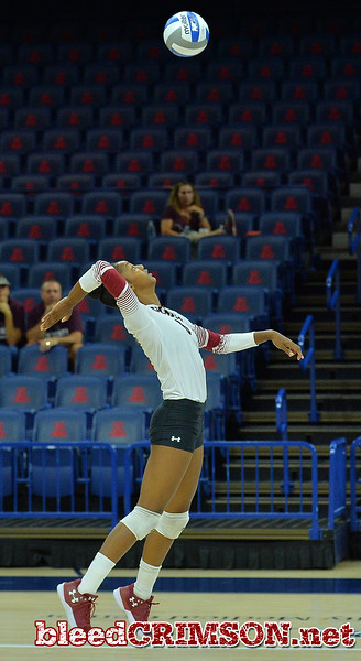 TUCSON, AZ - SEPTEMBER 16:  Tatyana Battle #6 of the New Mexico State Aggies takes a swing in a match between the New Mexico State Aggies and the William & Mary Tribe at the McKale Center in Tucson, Arizona. The Aggies won 3-0.  (Photo by Sam Wasson)