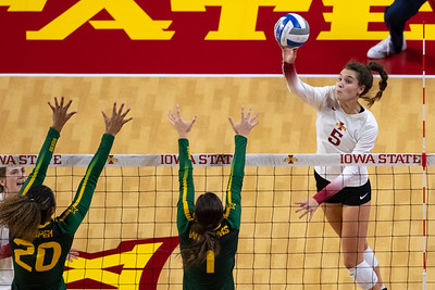 Scene from Iowa State - Baylor volleyball match at Hilton Coliseum in Ames, Iowa on October 23, 2020. Photo © Wesley Winterink.