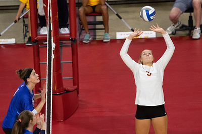 Action from preseason volleyball match between Creighton and Iowa State at Hilton Coliseum in Ames, Iowa on August 23, 2019. Photo © Wesley Winterink.