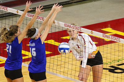 Action from volleyball exhibition match between Drake and Iowa State on August 12, 2017 at Hilton Coliseum in Ames, Iowa. Photo by Wesley Winterink.