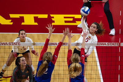 Action from Kansas - Iowa State volleyball match at Hilton Coliseum in Ames, Iowa on November 13, 2020. Photo © Wesley Winterink.