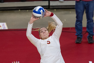 Scene from Iowa State vs Kansas volleyball match at Hilton Coliseum in Ames, Iowa on October 2, 2019. Photo © Wesley Winterink.