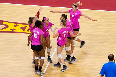 Scene from NCAA Volleyball Match between Oklahoma and Iowa State at Hilton Coliseum in Ames, Iowa on October 3, 2018.  Photo © Wesley Winterink.