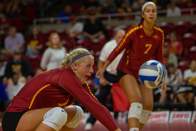 Action from NCAA Volleyball Match between Iowa State and Ole Miss at Hilton Coliseum in Ames, Iowa on August 24, 2018. Photo © Wesley Winterink.