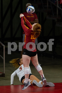 Action from NCAA Volleyball Match between Iowa State and Oregon State at Hilton Coliseum in Ames, Iowa on August 25, 2018. Photo © Wesley Winterink.