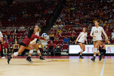 Scene from NCAA Volleyball match between South Dakota and Iowa State at Hilton Coliseum in Ames, Iowa on September 3, 2019. Photo © Wesley Winterink.
