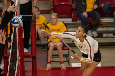 Scene from Iowa State vs Texas Tech volleyball match at Hilton Coliseum in Ames, Iowa on October 12, 2019. Photo © Wesley Winterink.