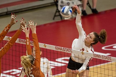 Image from Texas - Iowa State volleyball match at Hilton Coliseum in Ames, Iowa on November 30, 2019. Photo © Wesley Winterink.