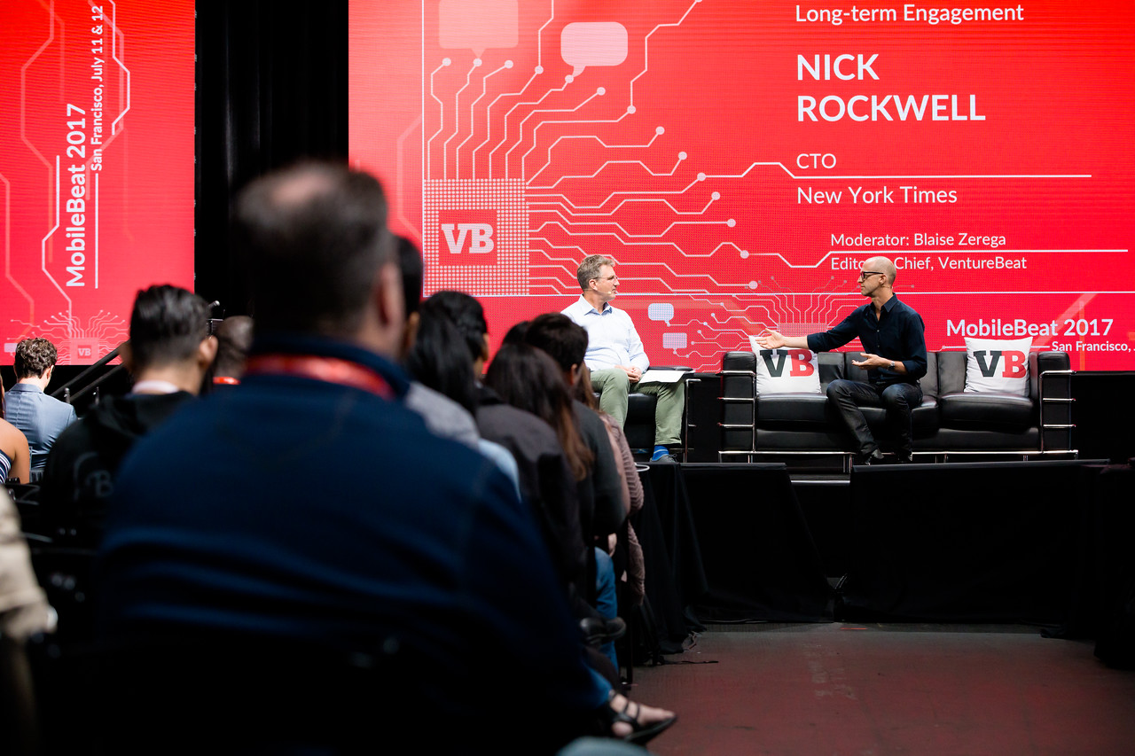 """#MB2017 @VentureBeat @BeeZee @nicksrockwell Keynote: """"The NYTimes, AI and long term engagement"""" A conversation with Nick Rockwell, CTO, New York Times, and Blaise Zerega, Editor In Chief of VentureBeat."""