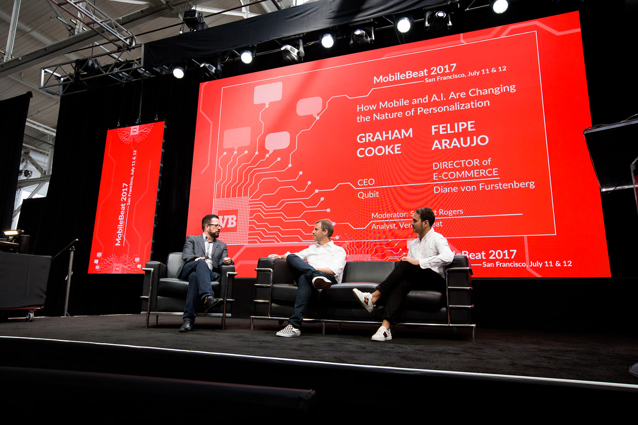 "#MB2017 @VentureBeat @mmarshall @thegrahamcooke ""How Mobile and A.I. Are Changing the Nature of Personalization"" Fireside chat with Felipe Araujo, Director of Ecommerce, Diane von Furstenberg and Graham Cooke, CEO, Qubit."