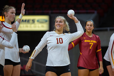 Scene from the Iowa State Cyclones Volleyball scrimmage on August 17, 2019 at Hilton Coliseum in Ames, Iowa. Photo © Wesley Winterink.