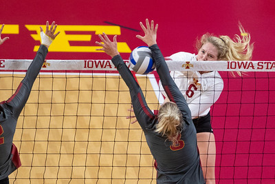 Scene from Iowa State volleyball scrimmage at Hilton Coliseum in Ames, Iowa on September 19, 2020. Photo © Wesley Winterink.