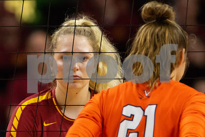 Action from NCAA Volleyball Match between Iowa State and Virginia at Hilton Coliseum in Ames, Iowa on August 25, 2018. Photo © Wesley Winterink.