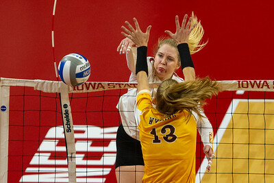 Scene from NCAA Volleyball Match between Wyoming and Iowa State at Hilton Coliseum in Ames, Iowa on September 13, 2018.  Photo © Wesley Winterink.