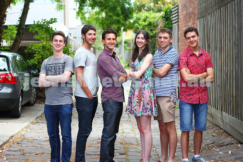 16-12-14. VCE 2014. From left: Daniel Kahan (KDS), Yakir Havin (Yeshivah), Daniel Tashlik (Bentleigh), Gabrielle Hayman (Bialik), Gidon Waller (Yavneh), Daniel Shell (Mt Scopus). Photo: Peter Haskin