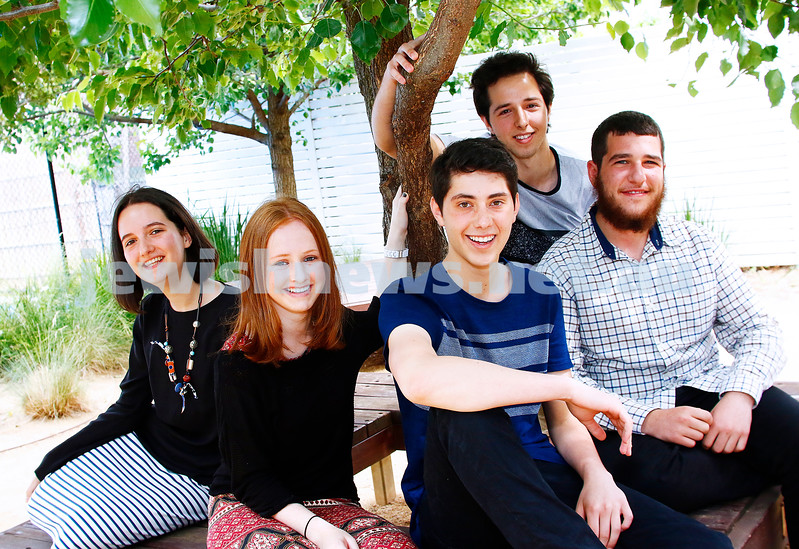 13-12-16. Top VCE students for 2016. From left: Sara Krishtul (Beth Rivkah), Batya Maron (Yavneh),  Jordan Berman (Mt Scopus), Tomer Moses (King David), Eitan Schachna (Yehivah). Photo: Peter Haskin