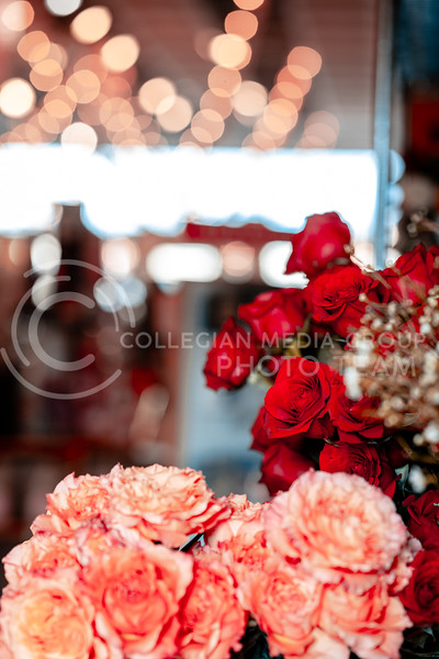 Bouquets displayed for V-Day in Acme gift florist located in Manhattan, KS, Aggieville. Feb 13, 2020. Dylan Connell | Collegian Media Group