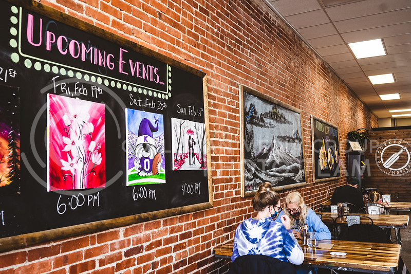 Uncorked Inspiration Valentines day paint and sip upcoming event. Manhattan, KS, Aggieville. Feb 13, 2020. Dylan Connell | Collegian Media Group