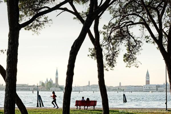 VENISE.   Vue sur San Marco depuis le jardin publique du quartier Castello