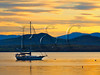 VT CHARLOTTE Essex_Charlotte Ferry Dock view of Lake Champlain and the Adirondack Mountains MAYAF_5182237MMW