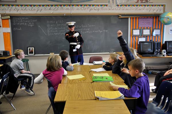 Evergreen Elementary U.S. Marine visit