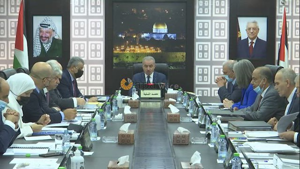 Palestinian Prime Minister Mohammad Ishtayeh, speaks during the weekly meeting