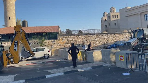 Cement blocks placed by Israeli security forces on a road in Jerusalem, during Yom Kippur (Day of Atonement) the most important day in the Jewish calendar