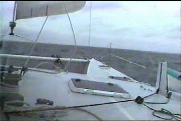 """Atlantic 42, """"LightSpeed"""". <br /> The first video segment was taken by John Franklin close reaching in 20+ knots of wind. John owned LightSpeed from 2001 to 2004, then bought the A55 """"Spirit"""".<br /> The second segment of LightSpeed sailing with spinnaker was taken by Chris White from the deck of the 52' trimaran """"Juniper"""" in Buzzards Bay, in September 1999. <br /> The video format of these segments has been converted so many times that the quality is poor, sorry about that."""