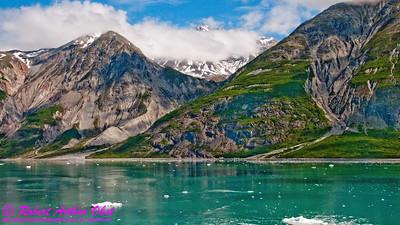Obst Photos Nikon D300s Obst Adventure Travel Alaska Image 8311 or LISeaLakeShores_8311_AK04.SkagwayAKtoGlacierBayAK.USA.AK.Gustavus.JohnHopkinsInlet.TurquoiseWatersAndBlueSkiesOverMountains-B