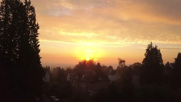 Misty Autumn Sunrise over Malvern and Malvern Hills