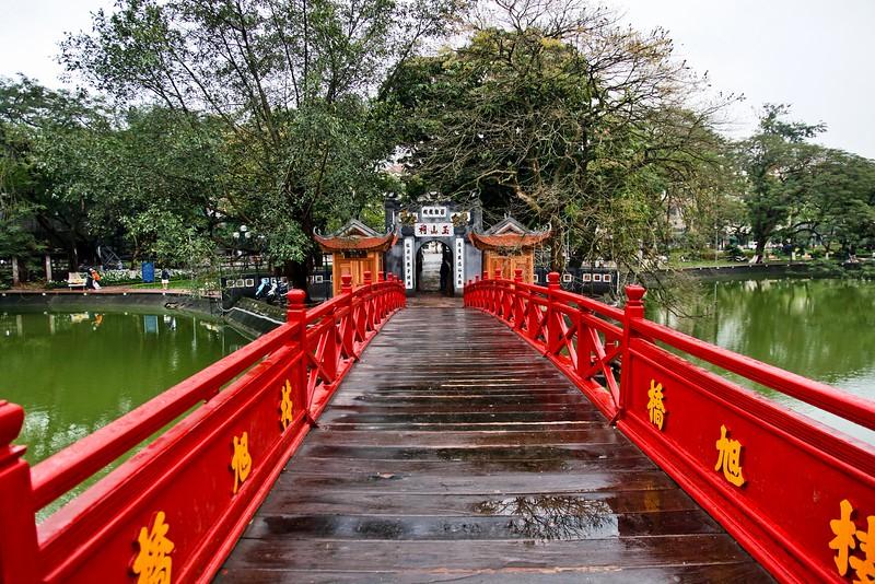 HANOI, Bridge on Hoan Kiem Lake, which contains an islet with a tiny Tortoise Pagoda