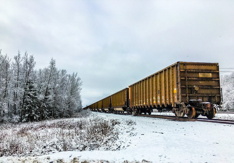 An old locomotive rolls down the train track as new snow falls on the ground