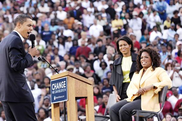 Barack Obama & Oprah Winfrey welocme everyone to Williams Brice Stadium in Columbia South Carolina on Sunday December 09, 2007. Barack Obama,Oprah Winfrey and Michele Obama Valerie Goodloe