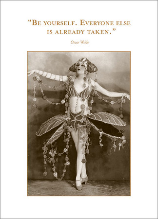 SM145-shannon-martin-greeting-card-sepia-photo-quote-vintage-oscar-wilde-be-yourself-birthday-showgirl