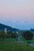 Farm Tractors and Wagons at Moonrise near Dayton in the Shenandoah Valley of Virginia, USA
