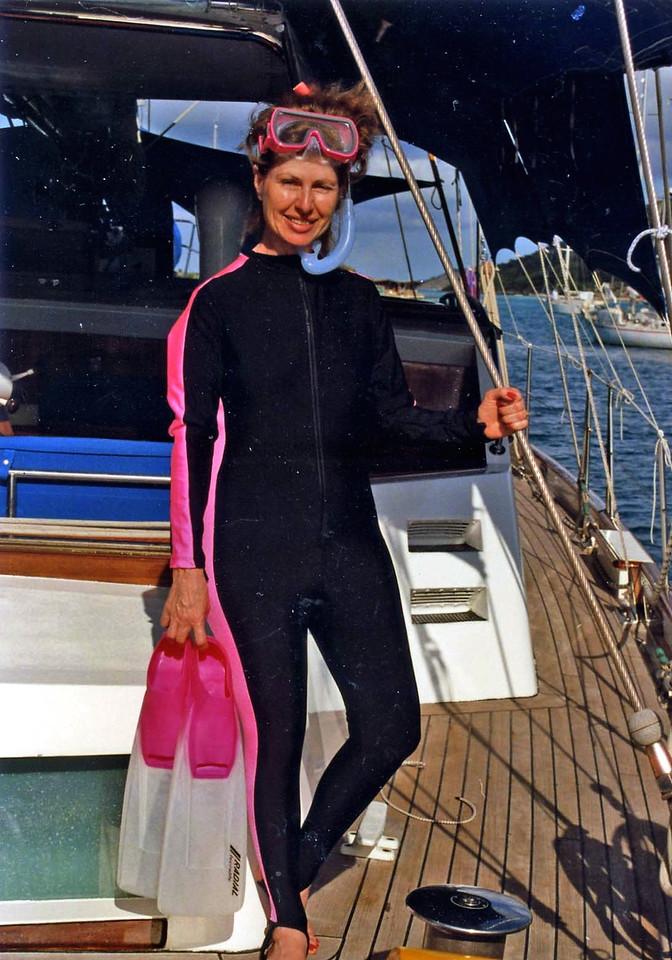 Betty in Scuba gear British Virgin Island Trip, Easter Vacation